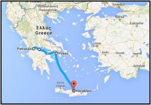 Tragitto Grecia e Creta